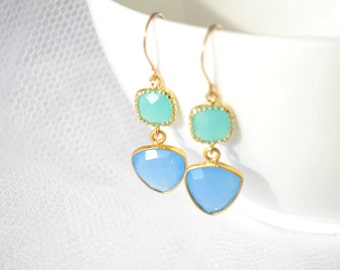 Green and blue chalcedony earrings, Boho chic earrings, dangle earrings. Stylish and a perfect gift for her - G3128