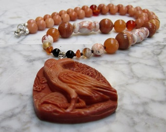 Natural Orange Stone and Crystal Sacral Hara Chakra Balancing Necklace with Hand Carved Red Malachite Marble Raven Crow Pendant
