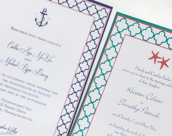 Quatrefoil Starfish Wedding Invitation, Pocketfold invitation, nautical invitation, beach invitation, custom invitation, cape cod invitation