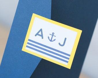 Nautical Compass & Anchor Wedding invitation, Pocketfold invitation, nautical invitation, beach invitation, custom, cape cod invitation