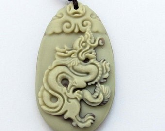 Two Layer Natural Stone Zodiac Dragon Fortune Talisman Pendant 40mm*24mm  ZP059