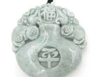 Two Sides Carved Twin Pi-Xiu Fortune FU Peace Natural Jadeite Gem Pendant Talisman 49mm*48mm*14mm  Cy102