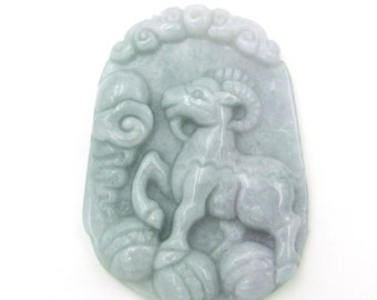 Natural Jadeite Gem Chinese Zodiac Animals Pendant Amulet (Sheep) 44mm*32mm  Cy128