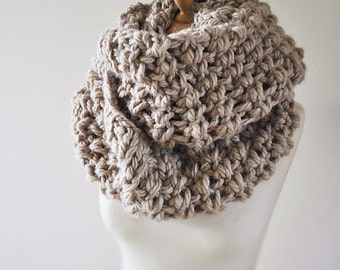 Cowl Scarf - Beige Infinity Scarf - Super Chunky Cowl - Knit Circular Wrap - Hooded Cowl -