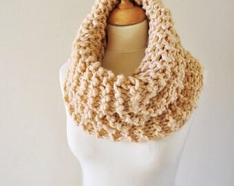 Cream Knit Neckwarmer - Chunky Knitted Cowl - Women's Knitwear