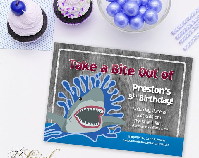 Shark Theme Birthday Party Invitation with Rustic Wood PRINTABLE