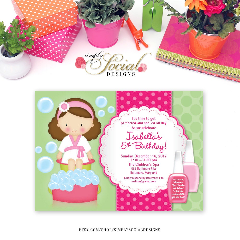 Kid\'s Spa Birthday Party Invitation Manicure Pedicure Nail Polish ...