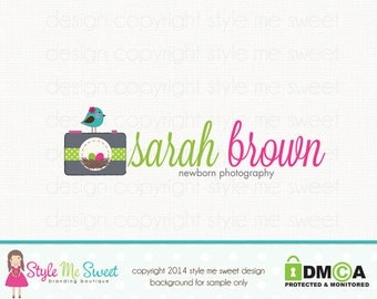 Premade Camera Logo with Nest and Bird Graphic Design Photography Logo Bespoke Logo Birth Photographer Logo Watermark Logo Design