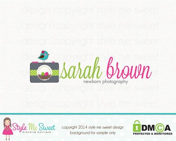 Premade Camera Logo with Nest and Bird Graphic Design Photography Logo Bespoke Logo Birth Photographer Logo Watermark Logo Design