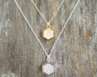Natural Druzy Necklace, Drusy Necklace, Druzy Quartz Jewelry, Layering Necklace, Geometric Jewelry, Geometric Necklace, White Druzy