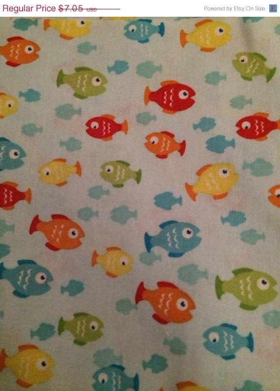 Fabric sale rainbow fish cotton fabric 17 by for Rainbow fish fabric