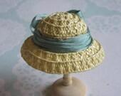 Handmade 1/12 miniature dollhouse straw hat