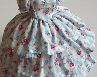 Beautiful handmade 1/12th scale miniature dollhouse gown in blue striped cotton