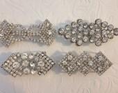 4 Rhinestone slider Buckles,Slider Closure, Clasp Button, Pillow Decoration, Garter Clasp