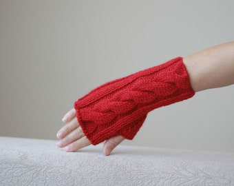 Red knit gloves, Red fingerless glove, Red Knit mittens, Red hand warmer, Red women gloves, Red women mittens, Knit red gloves