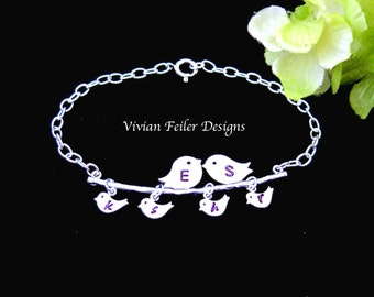 Family Jewelry Love Birds Bracelet Charm 1 2 3 4 5 Babies Expecting Mom Sterling Silver