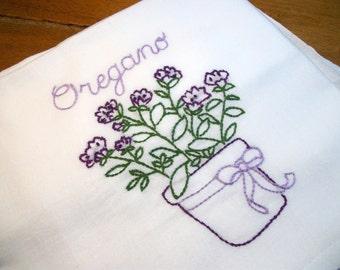 Dish (Tea) Towel with Herb Garden Design Hand Embroidery Flour Sack Dish Towels Oregano Dish Towel Lint Free Dish Towel