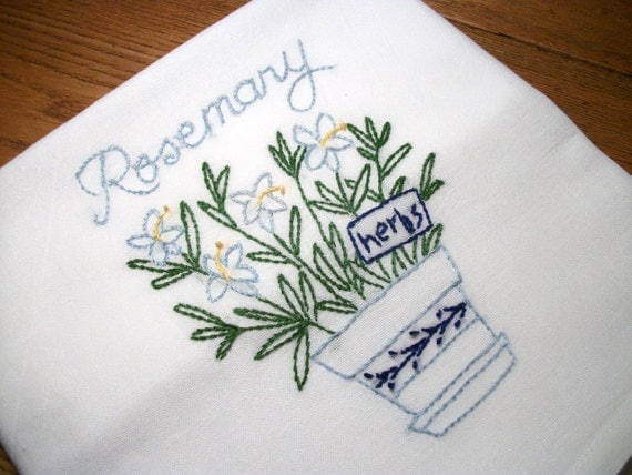 Dish tea towel with herb garden design hand embroidery flour - Free embroidery designs for kitchen towels ...