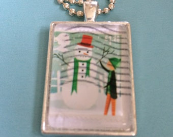 Snowman Stamp Pendant Necklace
