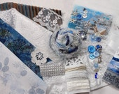 Switzerland. Inspiration Kit And Embellishment Kit. Blues, White and Brown No 229A