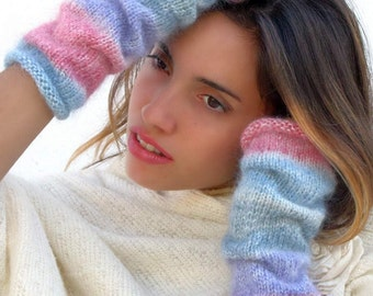 Knit mittens,knit fingerless gloves, Mohair Mittens, Arm Wrist Warmers, Gray, Blue, Purple, Watermelon