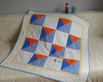 Summer Breeze quilt pattern  boats striped fabric mitered boarder Instant DOWNLOAD PDF