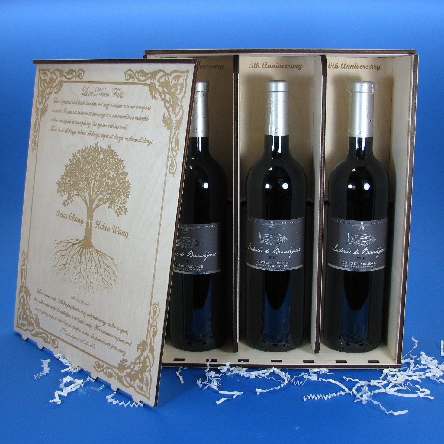 Enraved wood wine box for 3 bottles personalized by you for Timber wine box