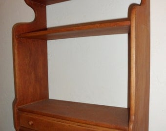 Antique wooden Country Wall Shelf with Drawer