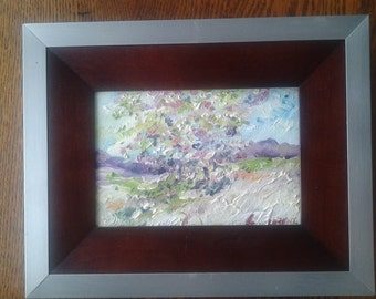 "Original oil of ""Three Saplings in Spring"" by Impressionist artist Chris Lorenz"
