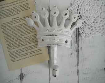 white crown hook shabby chic tiara hook nursery hook bedroom decor nursery decor rustic hook hanger French country paris apartment coat hook