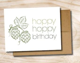 hoppy birthday hoppy beerday beer mug printed greeting card