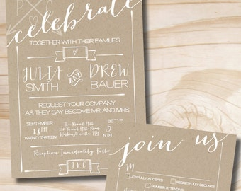 Celebrate Poster Wedding Invitation and Response Card - Printable Invitation