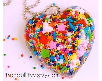 Sprinkle Heart Necklace ,Super Sweet Sprinkle Resin  Flat Heart Jumbo Necklace  , Kawaii, Hipster, Scene By: Tranquilityy