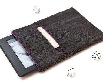 Kindle Fire, Kindle Voyage, Kindle Paperwhite case cover sleeve handmade dark jeans denim and purple with pocket