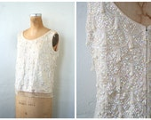 1950s beaded & sequined top - sleeveless sweater shell / Winter White - ivory wool / bride - modern flapper
