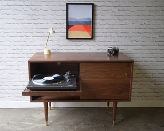 Solid Walnut Record Cabinet with Pull-out Shelf
