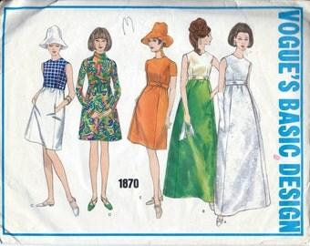 Vintage 1960s Vogue Basic Design A-Line DRESS Sewing Pattern 1870 Size 12 Bust 34