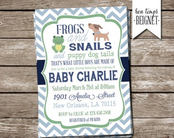 Snips and Snails and Puppy Dog Tails - Baby Shower Invitation - 5x7 Printable Invitation - Baby Boy Shower