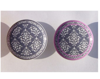 1 One  Gray white pink damask  your choice of print   Dresser Drawer Knobs