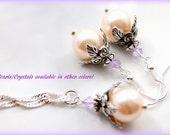 Lavender Crystal Necklace - Lavender Crystal Earrings - Lavender Crystal Jewelry - Lavender Bridesmaid Earrings - Lavender Bridesmaid Neck