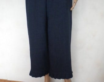 linen pant bloomer knickers pleated ruffle navy blue hand dyed made to order
