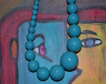 Blue Necklace  Vintage Boho Gypsy MidCentury