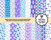 Butterfly Digital Paper Pack Sky Blue Purple The Butterflies Series 20 Papers Plus Clipart Clip Art Printable Scrapbooking Instant Download