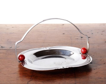 Vintage Art Deco serving tray, basket handle, chrome, Bakelite or Lucite, silver, red, 1930s to 1950s, jewelry dish, cookie basket, relish