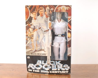"Vintage Buck Rogers action figure, 12"" doll, Mego, 1979, original box, sci-fi tv plastic toy, TV, 1970s science fiction movie, Gil Gerard"