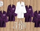 Silk Satin Robes, Wedding Robes, FREE ROBE Set of 7 or MORE Robes,  Bridesmaid Satin Robes, Kimono Robe, Plus Size Robe, Purple Robes