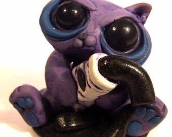 Jake the Jerk Messy Kitty Cat Original Polymer clay Sculpture desk buddy collectible a Covington Creation