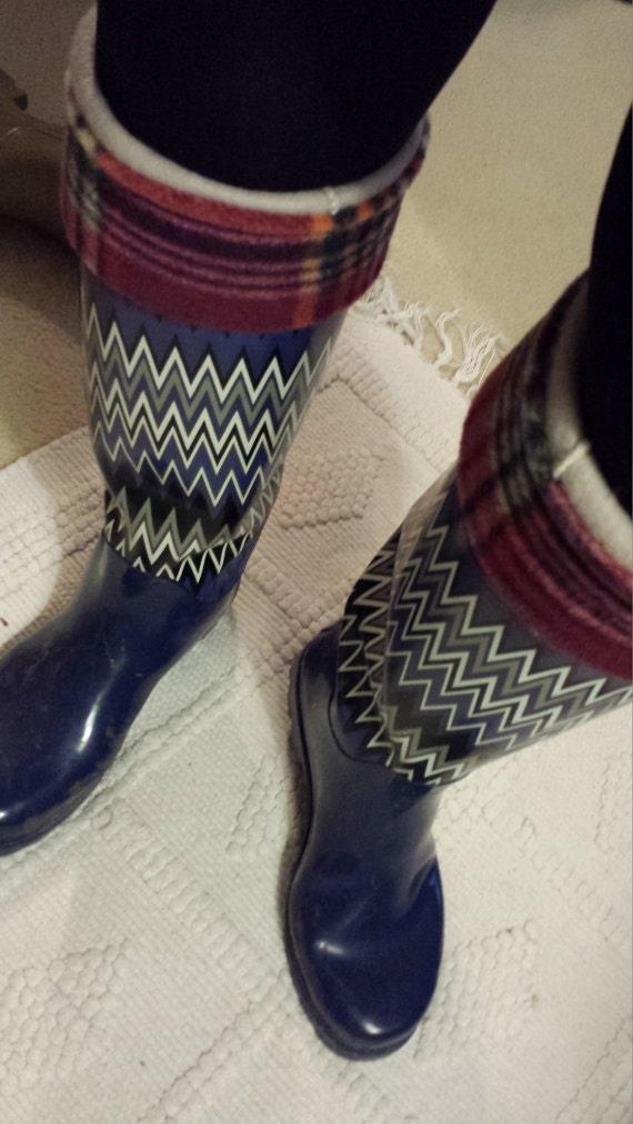 Fleece Rain Boot Liners Burgundy Plaid With Tan Sock By Bluebird58