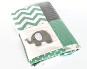Elephant XL  Baby  Crib Quilt in mint and gray