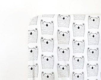 Fitted XL Crib sheet..Black Bear, cot sheet, crib bedding, black and white